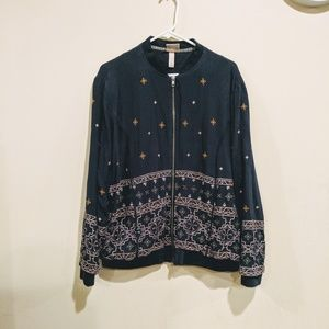 Knox Rose embroidered bomber jacket XL